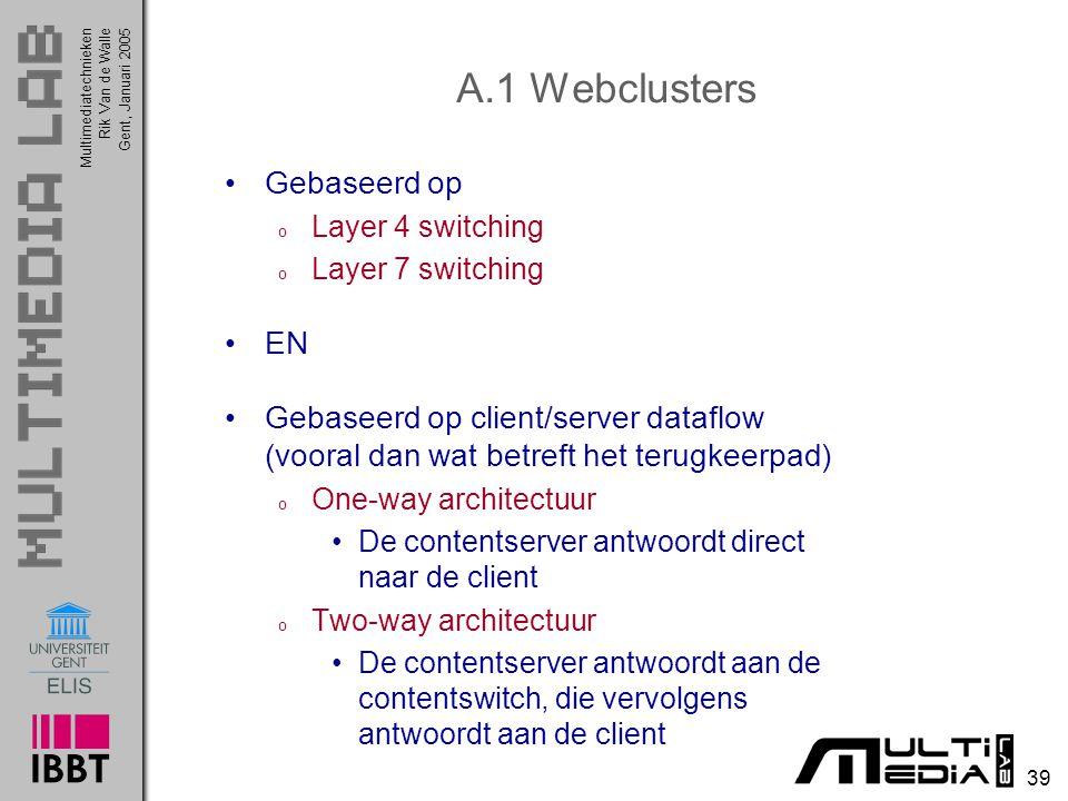 Multimediatechnieken 39 Rik Van de WalleGent, Januari 2005 A.1 Webclusters Gebaseerd op o Layer 4 switching o Layer 7 switching EN Gebaseerd op client
