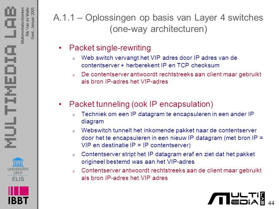 Multimediatechnieken 44 Rik Van de WalleGent, Januari 2005 A.1.1 – Oplossingen op basis van Layer 4 switches (one-way architecturen) Packet single-rew