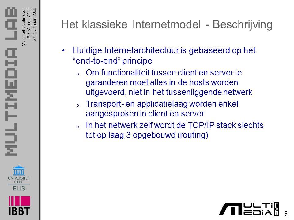 Multimediatechnieken 5 Rik Van de WalleGent, Januari 2005 Het klassieke Internetmodel - Beschrijving Huidige Internetarchitectuur is gebaseerd op het