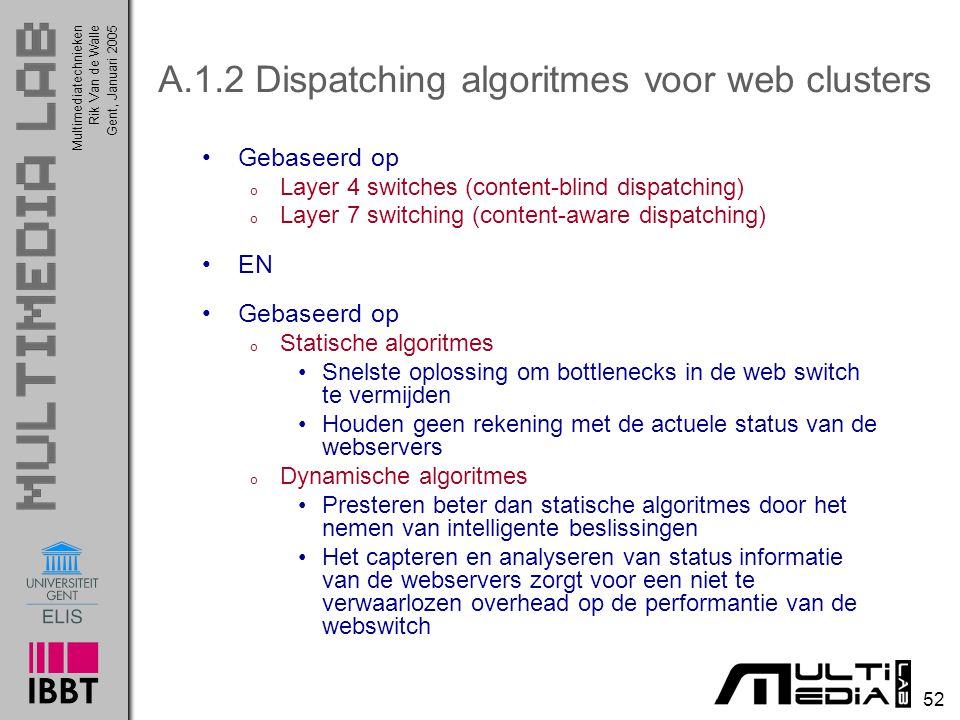 Multimediatechnieken 52 Rik Van de WalleGent, Januari 2005 A.1.2 Dispatching algoritmes voor web clusters Gebaseerd op o Layer 4 switches (content-bli