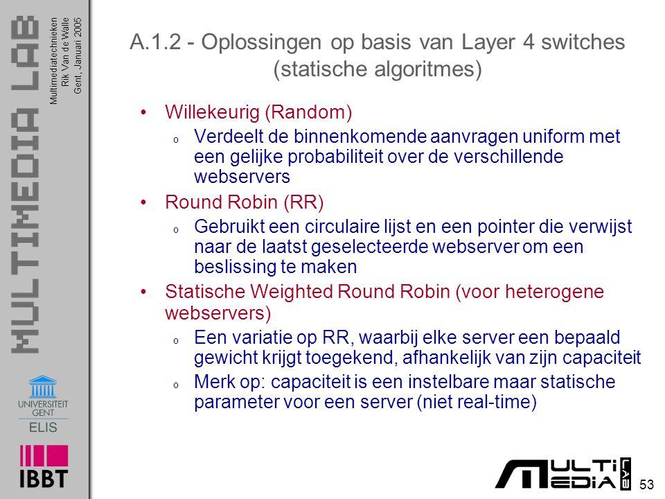 Multimediatechnieken 53 Rik Van de WalleGent, Januari 2005 A.1.2 - Oplossingen op basis van Layer 4 switches (statische algoritmes) Willekeurig (Rando