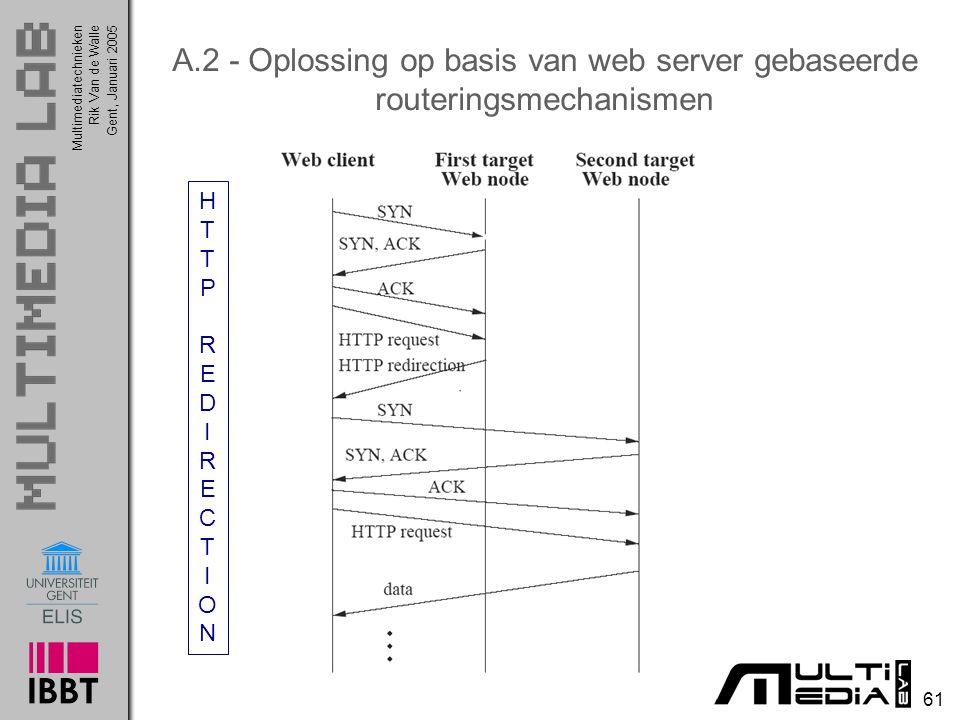 Multimediatechnieken 61 Rik Van de WalleGent, Januari 2005 A.2 - Oplossing op basis van web server gebaseerde routeringsmechanismen HTTPREDIRECTIONHTTPREDIRECTION