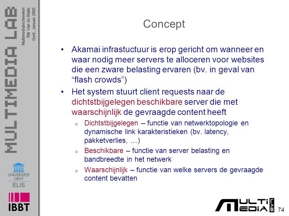 Multimediatechnieken 74 Rik Van de WalleGent, Januari 2005 Concept Akamai infrastuctuur is erop gericht om wanneer en waar nodig meer servers te alloceren voor websites die een zware belasting ervaren (bv.