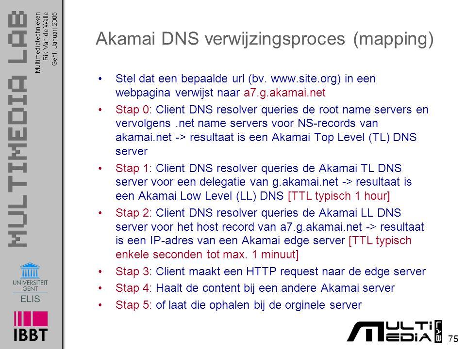Multimediatechnieken 75 Rik Van de WalleGent, Januari 2005 Akamai DNS verwijzingsproces (mapping) Stel dat een bepaalde url (bv. www.site.org) in een