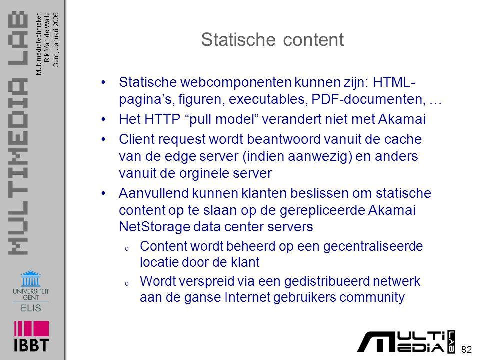 Multimediatechnieken 82 Rik Van de WalleGent, Januari 2005 Statische content Statische webcomponenten kunnen zijn: HTML- pagina's, figuren, executable