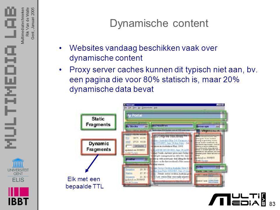 Multimediatechnieken 83 Rik Van de WalleGent, Januari 2005 Dynamische content Websites vandaag beschikken vaak over dynamische content Proxy server caches kunnen dit typisch niet aan, bv.