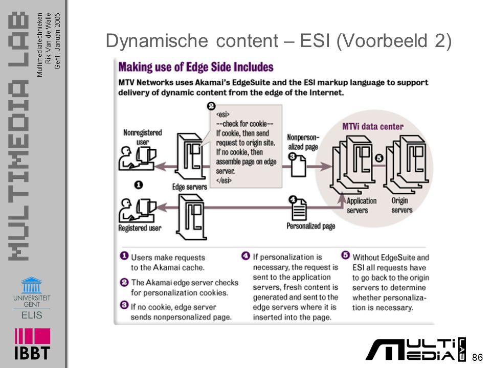 Multimediatechnieken 86 Rik Van de WalleGent, Januari 2005 Dynamische content – ESI (Voorbeeld 2)