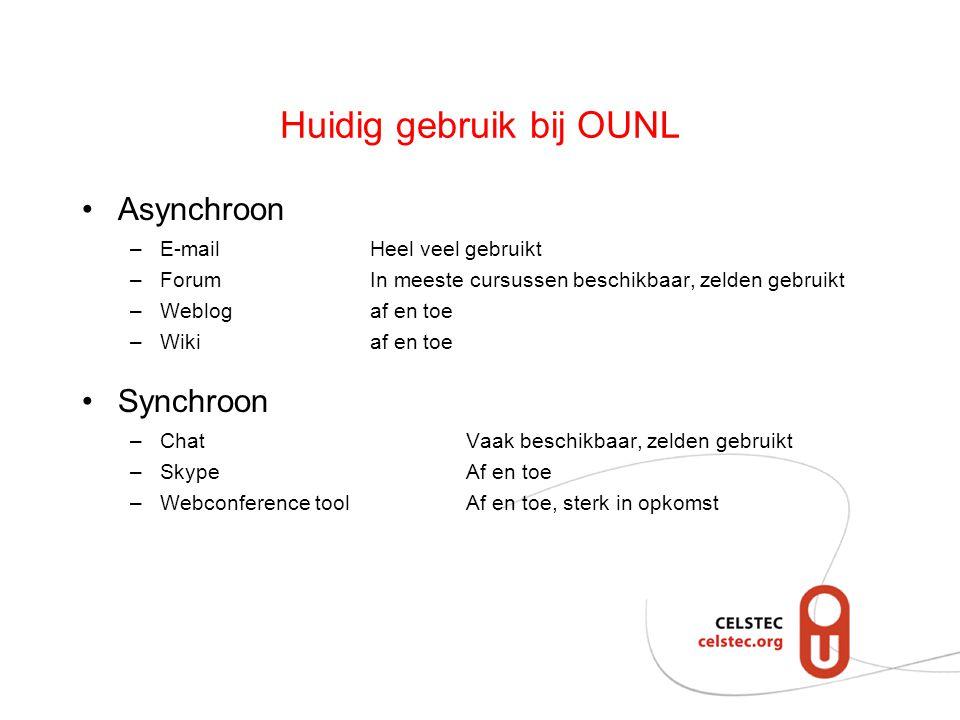 Huidig gebruik bij OUNL Asynchroon –E-mailHeel veel gebruikt –Forum In meeste cursussen beschikbaar, zelden gebruikt –Weblogaf en toe –Wikiaf en toe Synchroon –Chat Vaak beschikbaar, zelden gebruikt –SkypeAf en toe –Webconference toolAf en toe, sterk in opkomst