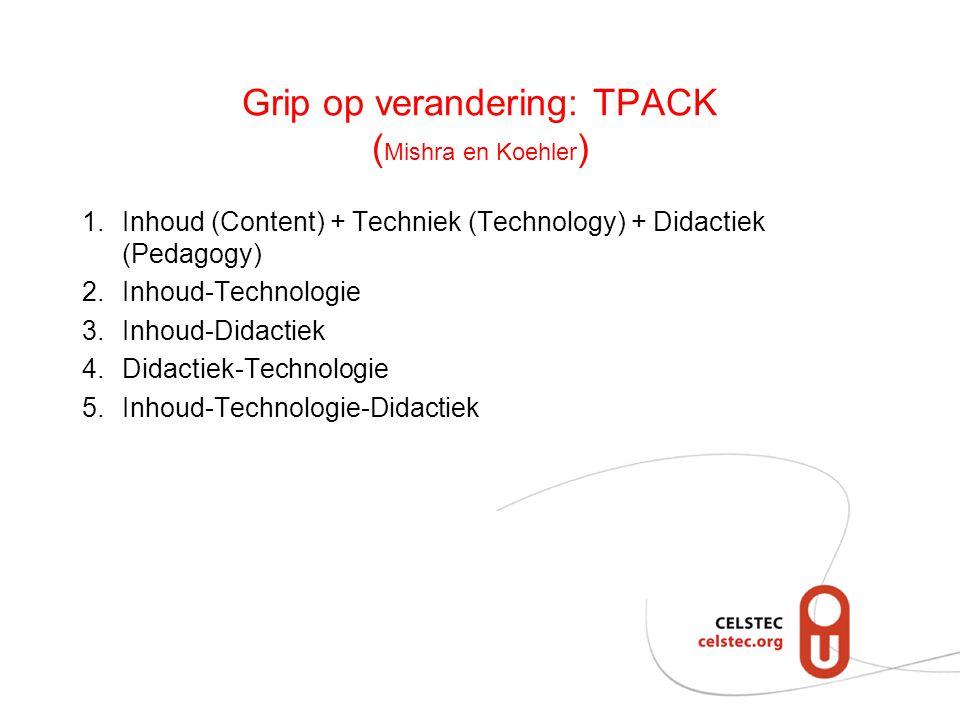 Grip op verandering: TPACK ( Mishra en Koehler ) 1.Inhoud (Content) + Techniek (Technology) + Didactiek (Pedagogy) 2.Inhoud-Technologie 3.Inhoud-Didac