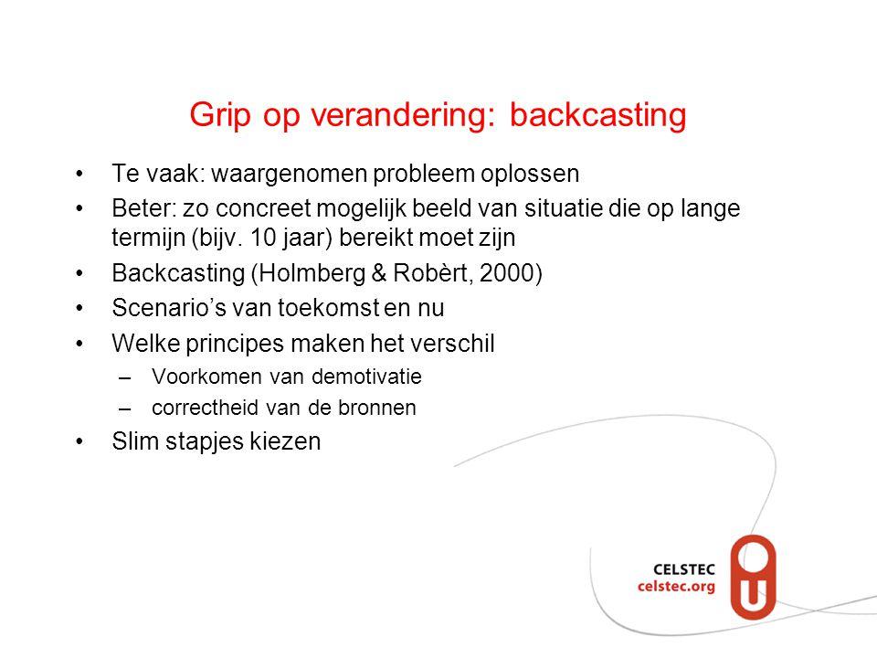 Grip op verandering: backcasting Te vaak: waargenomen probleem oplossen Beter: zo concreet mogelijk beeld van situatie die op lange termijn (bijv.
