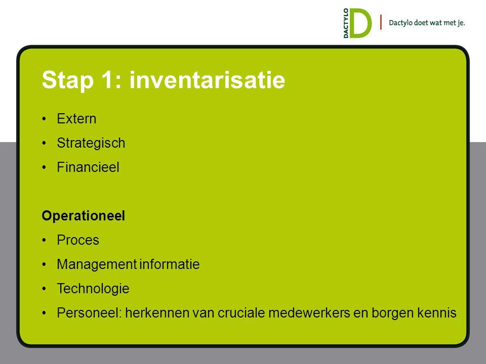 Stap 1: inventarisatie Extern Strategisch Financieel Operationeel Proces Management informatie Technologie Personeel: herkennen van cruciale medewerke