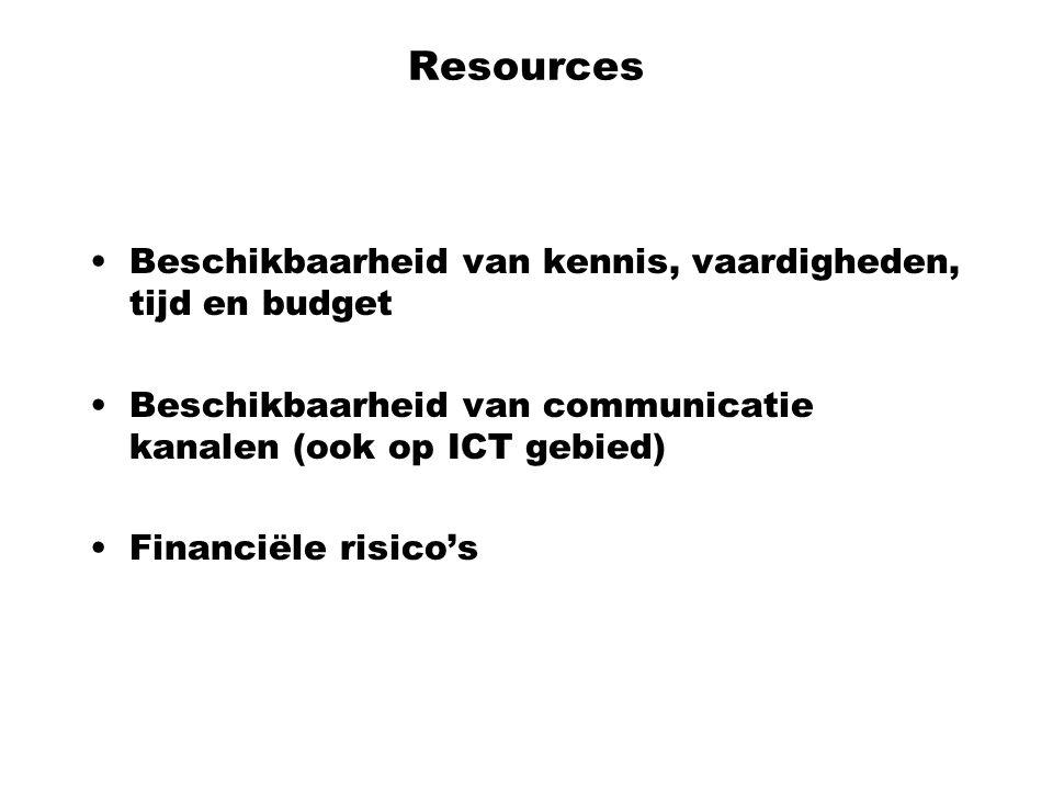 Resources Beschikbaarheid van kennis, vaardigheden, tijd en budget Beschikbaarheid van communicatie kanalen (ook op ICT gebied) Financiële risico's