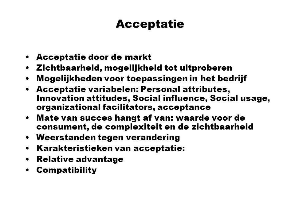Acceptatie Acceptatie door de markt Zichtbaarheid, mogelijkheid tot uitproberen Mogelijkheden voor toepassingen in het bedrijf Acceptatie variabelen: