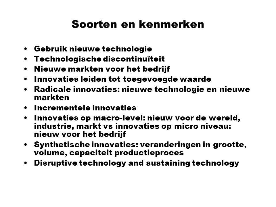 Soorten en kenmerken Gebruik nieuwe technologie Technologische discontinuïteit Nieuwe markten voor het bedrijf Innovaties leiden tot toegevoegde waard