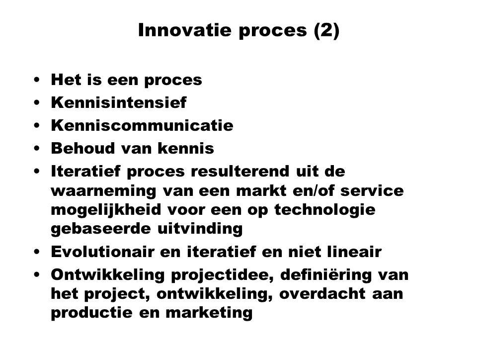 Innovatie proces (2) Het is een proces Kennisintensief Kenniscommunicatie Behoud van kennis Iteratief proces resulterend uit de waarneming van een mar