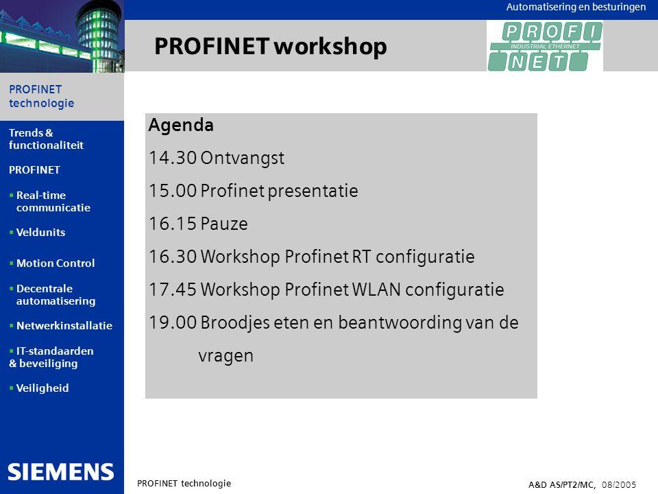 Automation and Drives PROFINET technologie A&D AS/PT2/MC, 08/2005 Trends & functionaliteit PROFINET  Real-time communicatie  Veldunits  Motion Control  Decentrale automatisering  Netwerkinstallatie  IT-standaarden & beveiliging  Veiligheid Automatisering en besturingen Configuratie in STEP7 Hetzelfde configuratiescherm voor PROFIBUS en PROFINET Quick start in PROFINET door gebruik van bekende Kennis van PROFIBUS GSDML GSD + XML = GSDML STEP7 / HW-Config