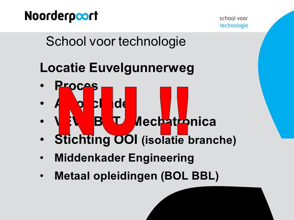 School voor technologie Locatie Euvelgunnerweg Proces Autoschade VEVA BAT / Mechatronica Stichting OOI (isolatie branche) Middenkader Engineering Metaal opleidingen (BOL BBL)