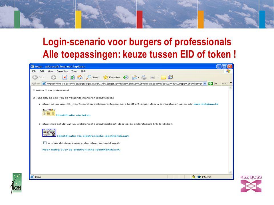 KSZ-BCSS Login-scenario voor burgers of professionals Alle toepassingen: keuze tussen EID of token !