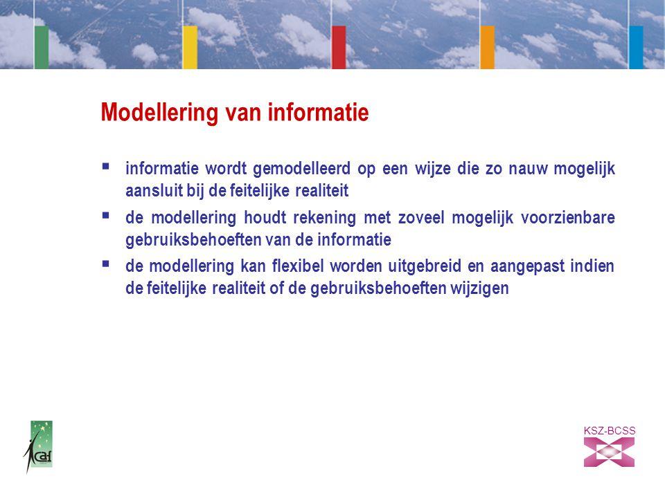 KSZ-BCSS Modellering van informatie  informatie wordt gemodelleerd op een wijze die zo nauw mogelijk aansluit bij de feitelijke realiteit  de modellering houdt rekening met zoveel mogelijk voorzienbare gebruiksbehoeften van de informatie  de modellering kan flexibel worden uitgebreid en aangepast indien de feitelijke realiteit of de gebruiksbehoeften wijzigen