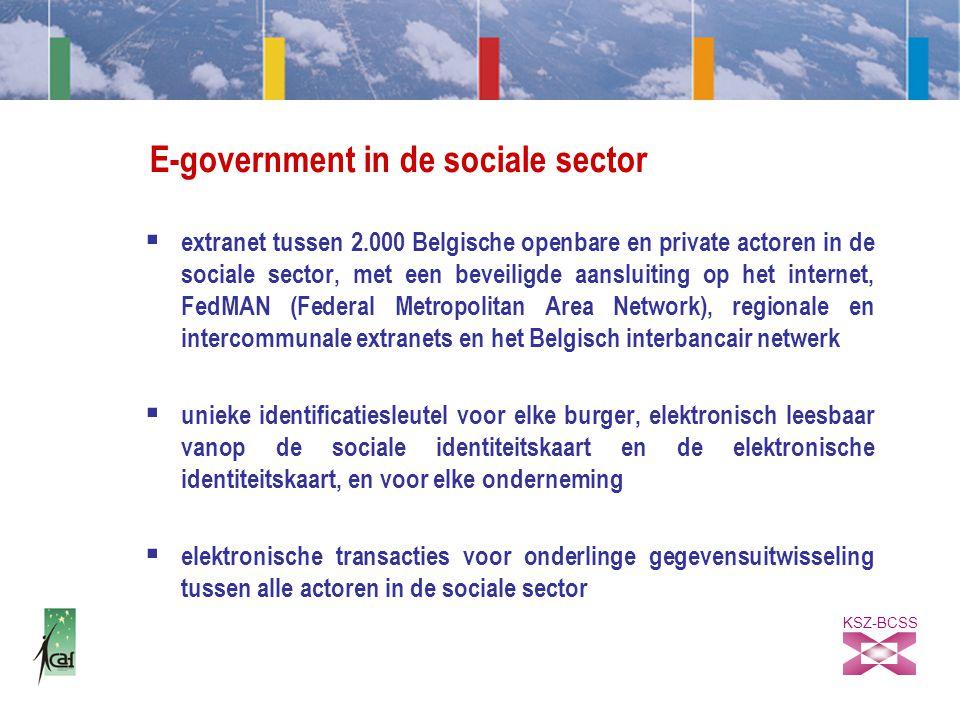 KSZ-BCSS E-government in de sociale sector  extranet tussen 2.000 Belgische openbare en private actoren in de sociale sector, met een beveiligde aansluiting op het internet, FedMAN (Federal Metropolitan Area Network), regionale en intercommunale extranets en het Belgisch interbancair netwerk  unieke identificatiesleutel voor elke burger, elektronisch leesbaar vanop de sociale identiteitskaart en de elektronische identiteitskaart, en voor elke onderneming  elektronische transacties voor onderlinge gegevensuitwisseling tussen alle actoren in de sociale sector