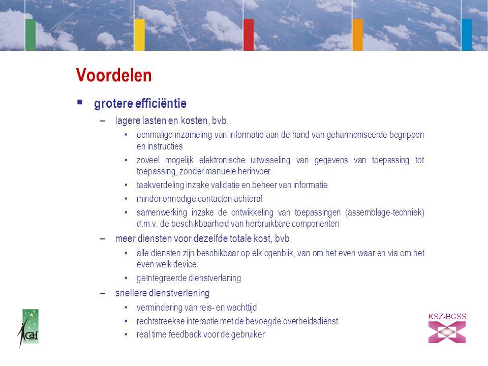 KSZ-BCSS Voordelen  grotere efficiëntie –lagere lasten en kosten, bvb.