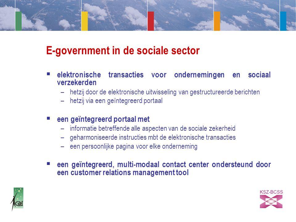 KSZ-BCSS E-government in de sociale sector  elektronische transacties voor ondernemingen en sociaal verzekerden –hetzij door de elektronische uitwisseling van gestructureerde berichten –hetzij via een geïntegreerd portaal  een geïntegreerd portaal met –informatie betreffende alle aspecten van de sociale zekerheid –geharmoniseerde instructies mbt de elektronische transacties –een persoonlijke pagina voor elke onderneming  een geïntegreerd, multi-modaal contact center ondersteund door een customer relations management tool