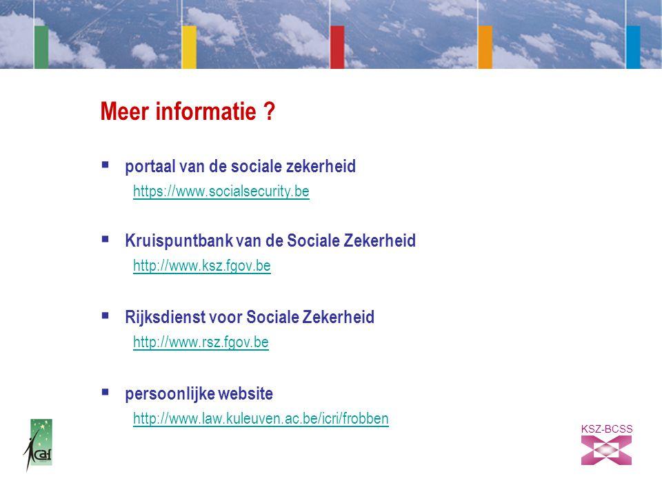 KSZ-BCSS Meer informatie .