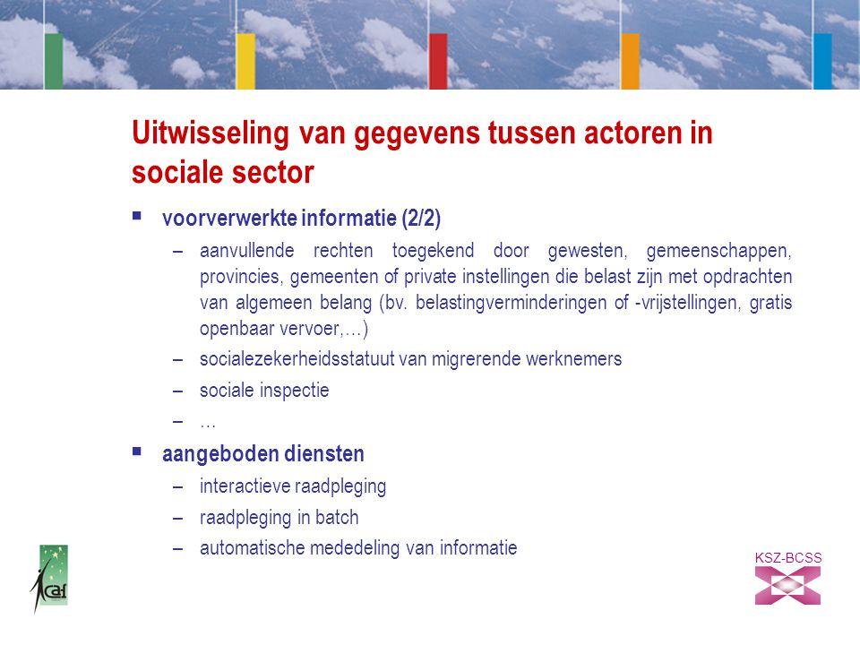 KSZ-BCSS Uitwisseling van gegevens tussen actoren in sociale sector  voorverwerkte informatie (2/2) –aanvullende rechten toegekend door gewesten, gemeenschappen, provincies, gemeenten of private instellingen die belast zijn met opdrachten van algemeen belang (bv.