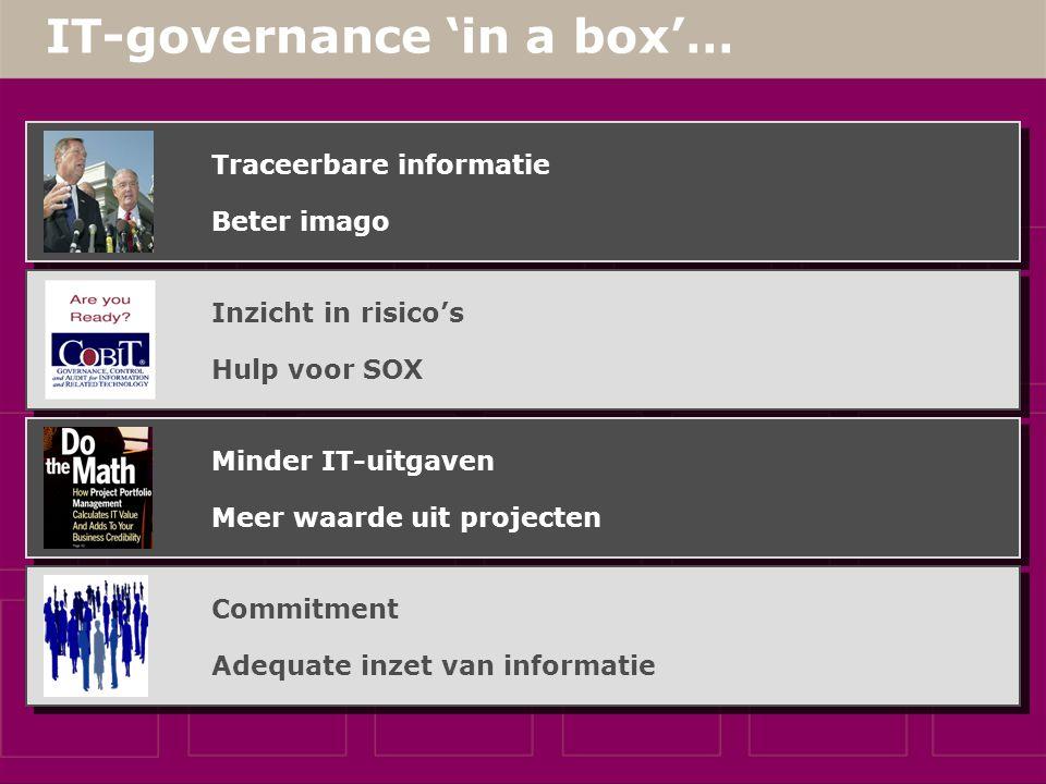 IT-governance 'in a box'… Wettelijke opgelegde transparantie CobiT: IT Governance Institute Best Practice: IT-portfoliomanagement Bottom Up Governance