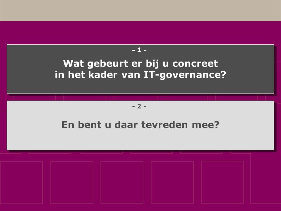 Wat gebeurt er bij u concreet in het kader van IT-governance.