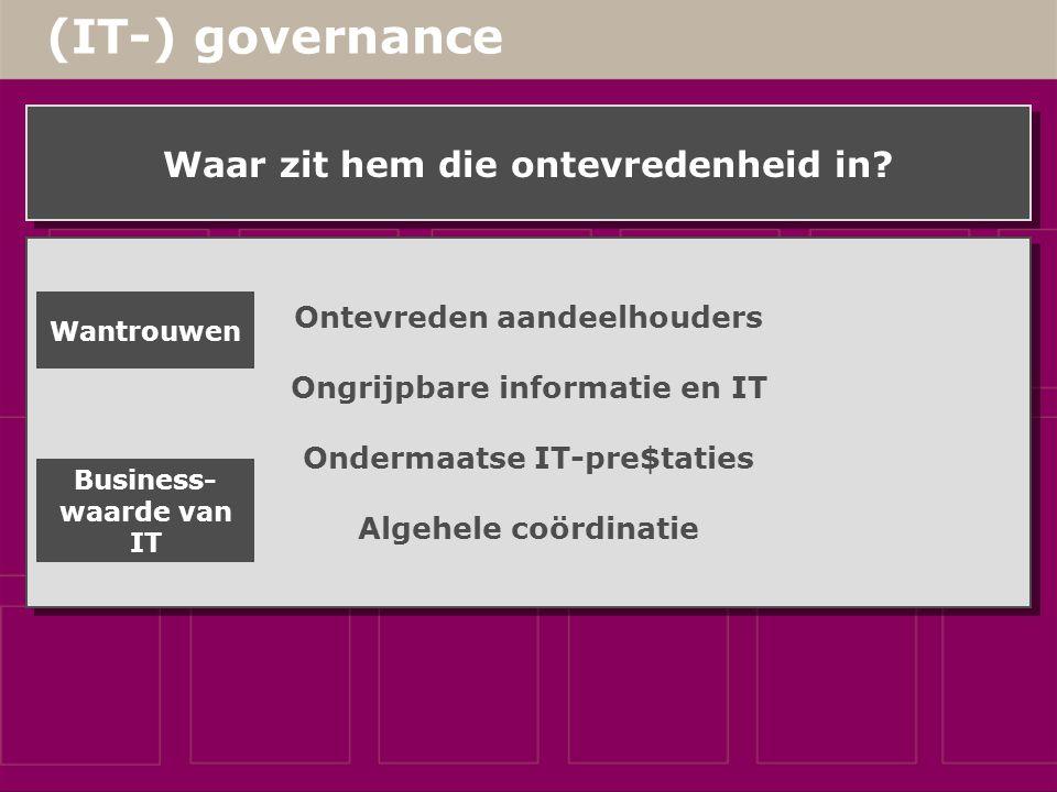 (IT-) governance Waar zit hem die ontevredenheid in.