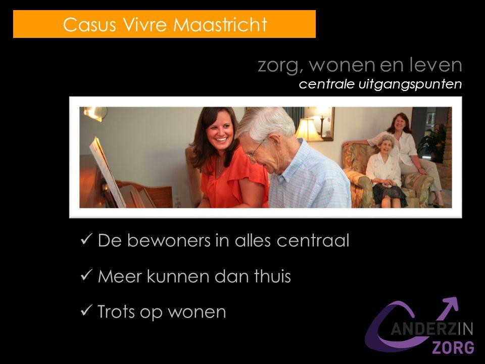 zorg, wonen en leven centrale uitgangspunten De bewoners in alles centraal Meer kunnen dan thuis Trots op wonen Casus Vivre Maastricht