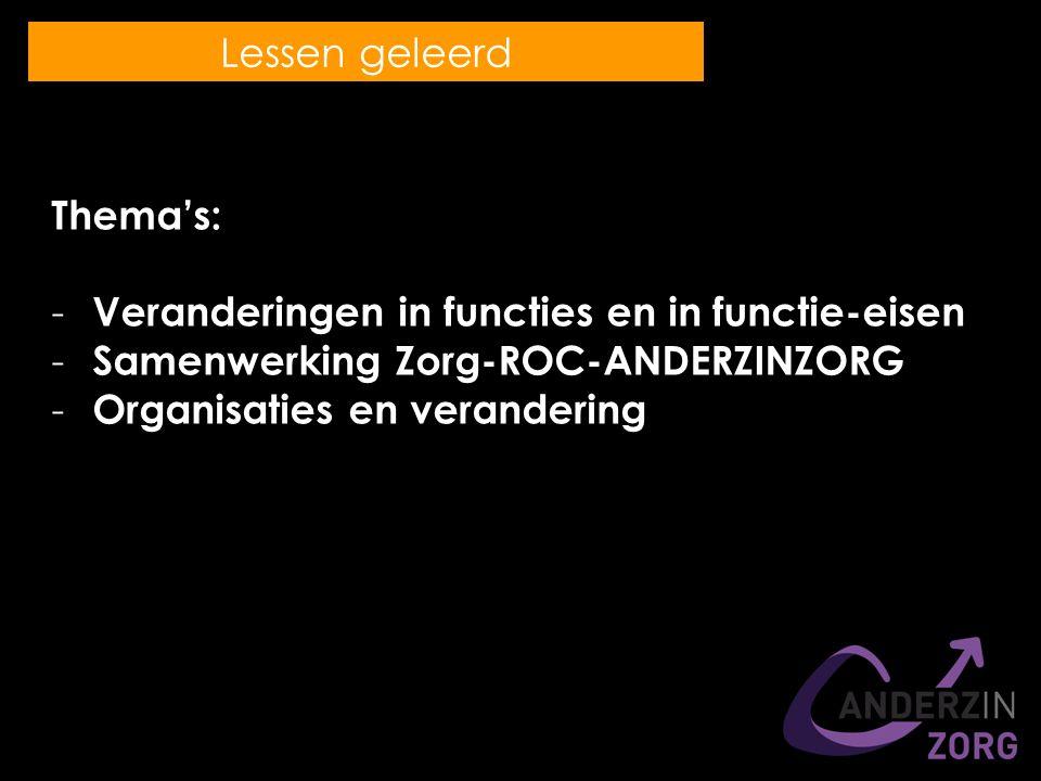 Thema's: - Veranderingen in functies en in functie-eisen - Samenwerking Zorg-ROC-ANDERZINZORG - Organisaties en verandering Lessen geleerd
