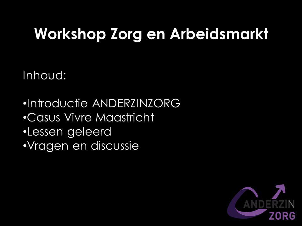 Workshop Zorg en Arbeidsmarkt Inhoud: Introductie ANDERZINZORG Casus Vivre Maastricht Lessen geleerd Vragen en discussie