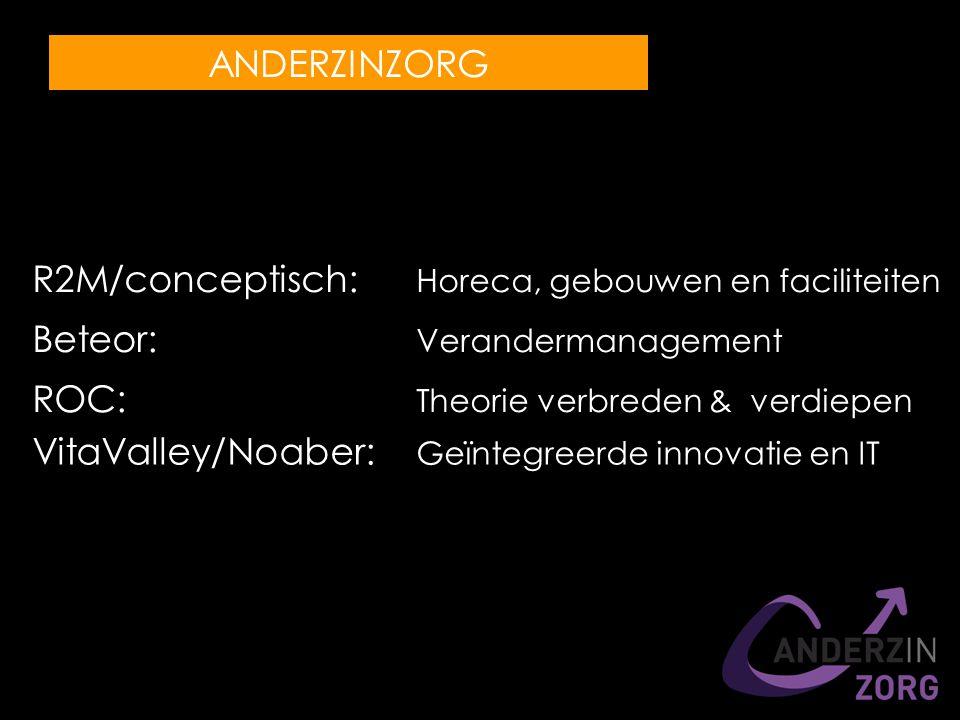 R2M/conceptisch: Horeca, gebouwen en faciliteiten Beteor: Verandermanagement ROC: Theorie verbreden & verdiepen VitaValley/Noaber: Geïntegreerde innovatie en IT ANDERZINZORG