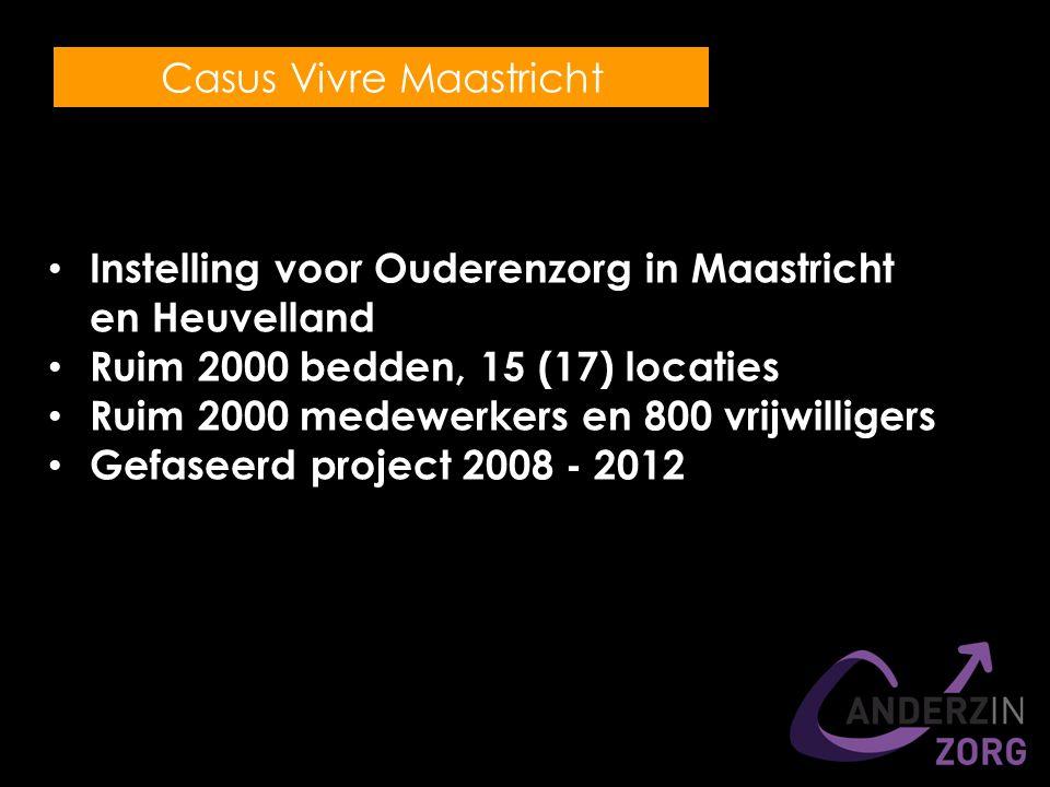 Instelling voor Ouderenzorg in Maastricht en Heuvelland Ruim 2000 bedden, 15 (17) locaties Ruim 2000 medewerkers en 800 vrijwilligers Gefaseerd project 2008 - 2012 Casus Vivre Maastricht