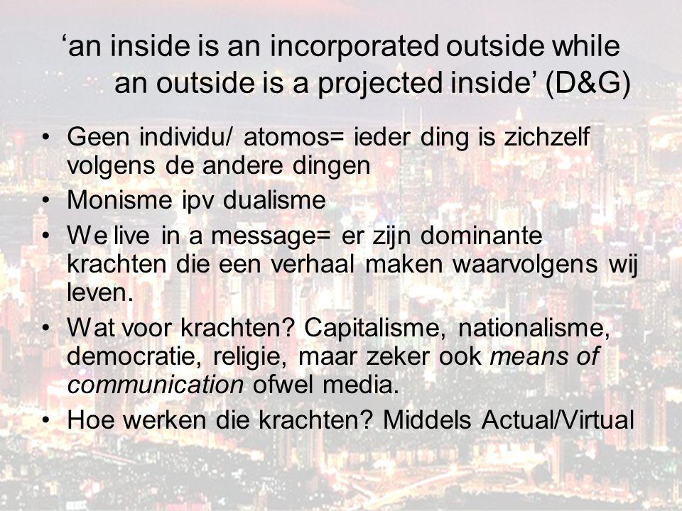 'an inside is an incorporated outside while an outside is a projected inside' (D&G) Geen individu/ atomos= ieder ding is zichzelf volgens de andere dingen Monisme ipv dualisme We live in a message= er zijn dominante krachten die een verhaal maken waarvolgens wij leven.