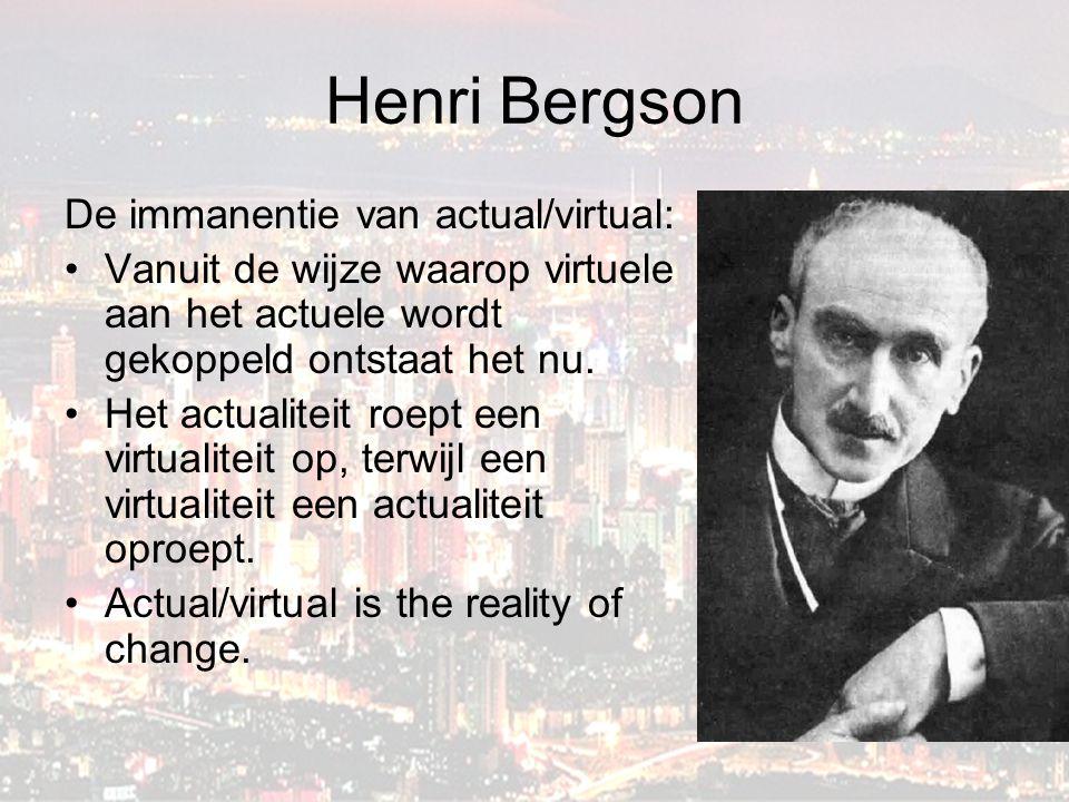 Henri Bergson De immanentie van actual/virtual: Vanuit de wijze waarop virtuele aan het actuele wordt gekoppeld ontstaat het nu.