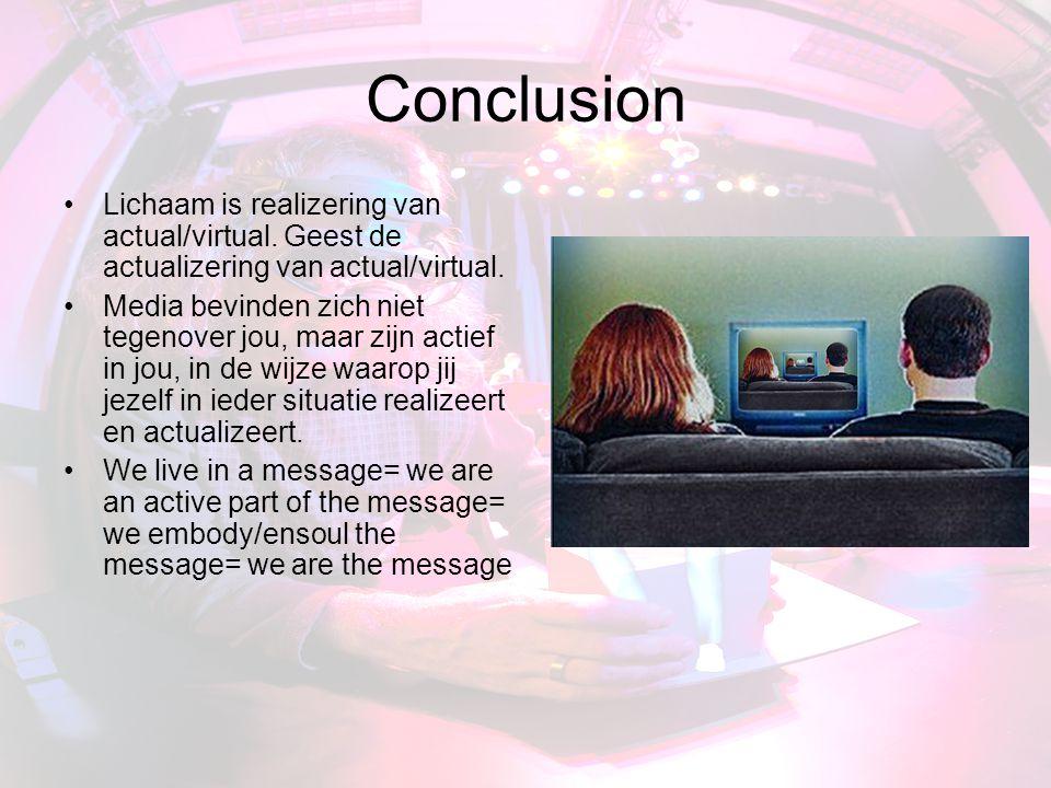 Conclusion Lichaam is realizering van actual/virtual.