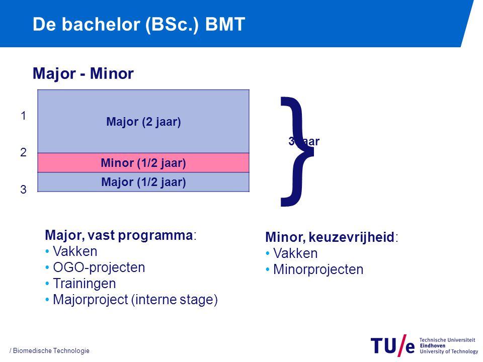 De bachelor (BSc.) BMT Major - Minor / Biomedische Technologie Major (2 jaar) Minor (1/2 jaar) Major (1/2 jaar) } 3 jaar Major, vast programma: Vakken OGO-projecten Trainingen Majorproject (interne stage) 123123 Minor, keuzevrijheid: Vakken Minorprojecten