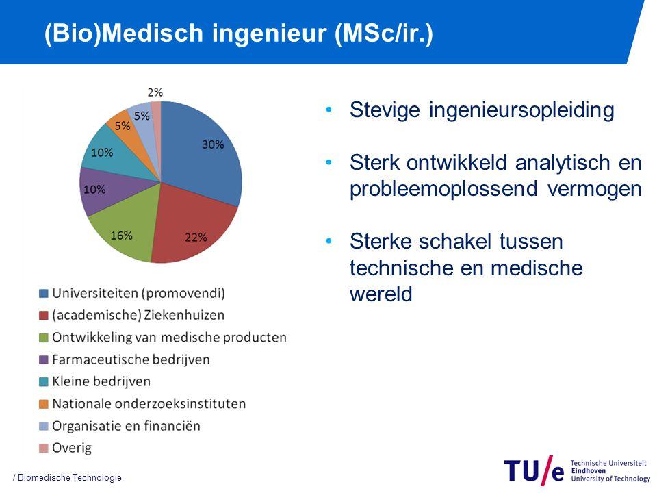 (Bio)Medisch ingenieur (MSc/ir.) / Biomedische Technologie Stevige ingenieursopleiding Sterk ontwikkeld analytisch en probleemoplossend vermogen Sterke schakel tussen technische en medische wereld