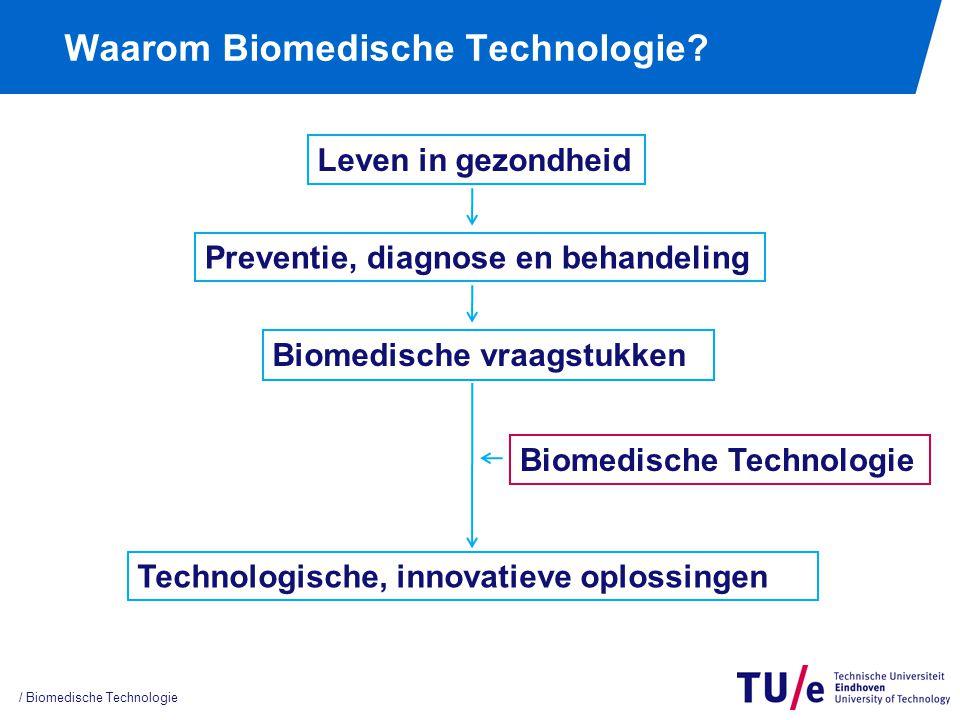 / Biomedische Technologie Waarom Biomedische Technologie? Leven in gezondheid Preventie, diagnose en behandeling Biomedische vraagstukken Technologisc