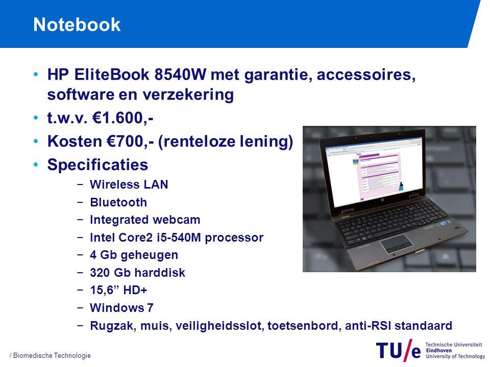Notebook HP EliteBook 8540W met garantie, accessoires, software en verzekering t.w.v. €1.600,- Kosten €700,- (renteloze lening) Specificaties −Wireles