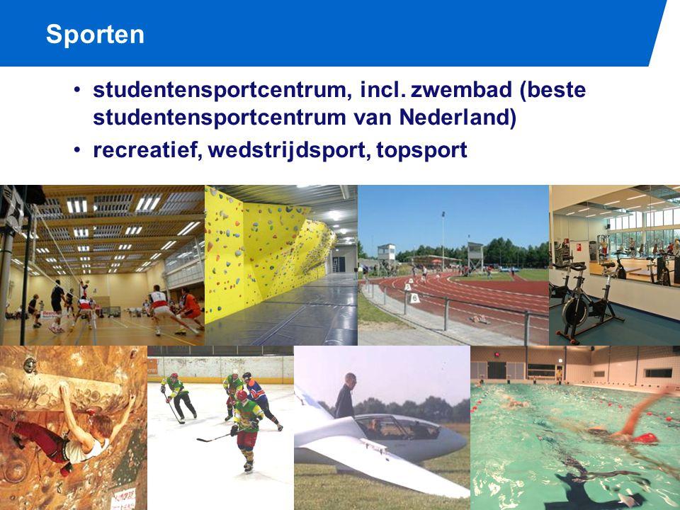Sporten studentensportcentrum, incl. zwembad (beste studentensportcentrum van Nederland) recreatief, wedstrijdsport, topsport