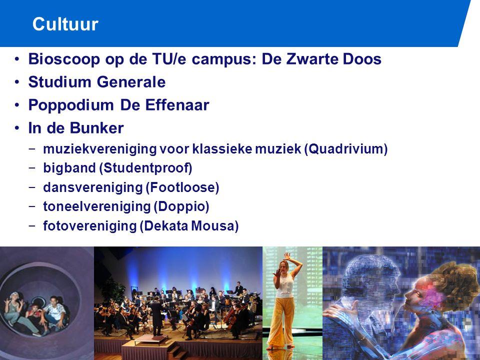 Cultuur / Biomedische Technologie Bioscoop op de TU/e campus: De Zwarte Doos Studium Generale Poppodium De Effenaar In de Bunker −muziekvereniging voo
