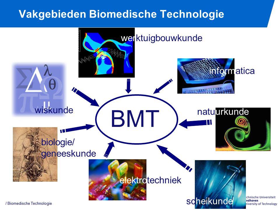 Vakgebieden Biomedische Technologie / Biomedische Technologie biologie/ geneeskunde natuurkunde elektrotechniek scheikunde wiskunde BMT informatica werktuigbouwkunde