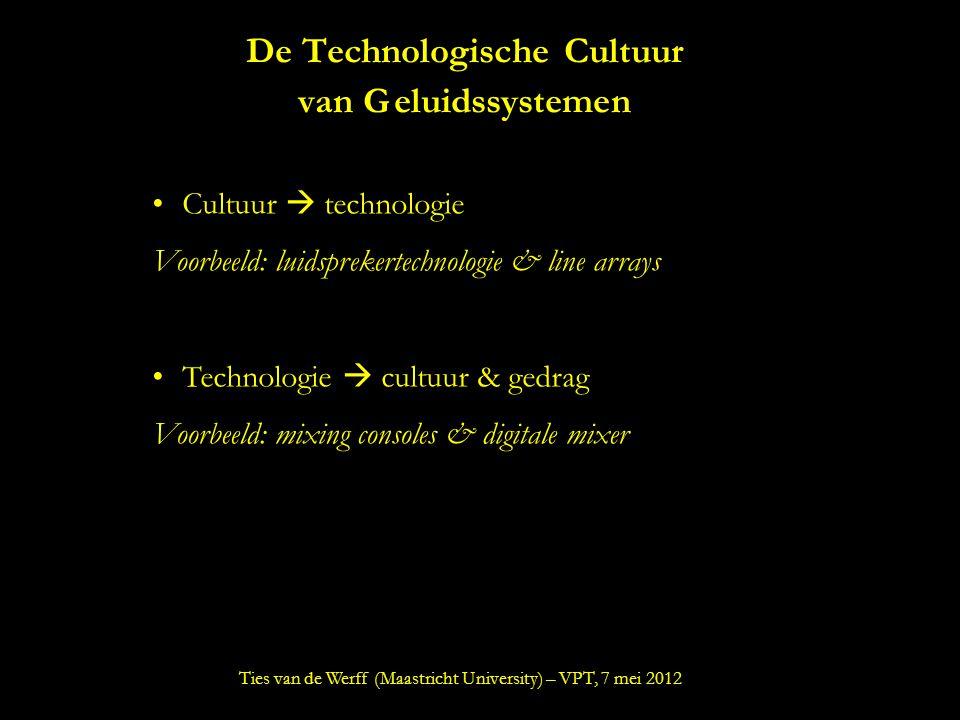 De Technologische Cultuur van Geluidssystemen Cultuur  technologie Voorbeeld: luidsprekertechnologie & line arrays Technologie  cultuur & gedrag Voorbeeld: mixing consoles & digitale mixer Ties van de Werff (Maastricht University) – VPT, 7 mei 2012