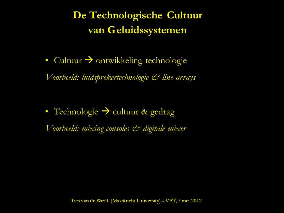 De Technologische Cultuur van Geluidssystemen Cultuur  ontwikkeling technologie Voorbeeld: luidsprekertechnologie & line arrays Technologie  cultuur & gedrag Voorbeeld: mixing consoles & digitale mixer Ties van de Werff (Maastricht University) – VPT, 7 mei 2012