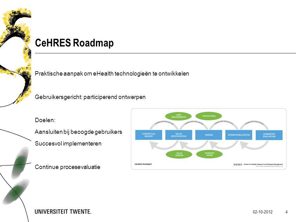 02-10-2012 4 CeHRES Roadmap Praktische aanpak om eHealth technologieën te ontwikkelen Gebruikersgericht: participerend ontwerpen Doelen: Aansluiten bi