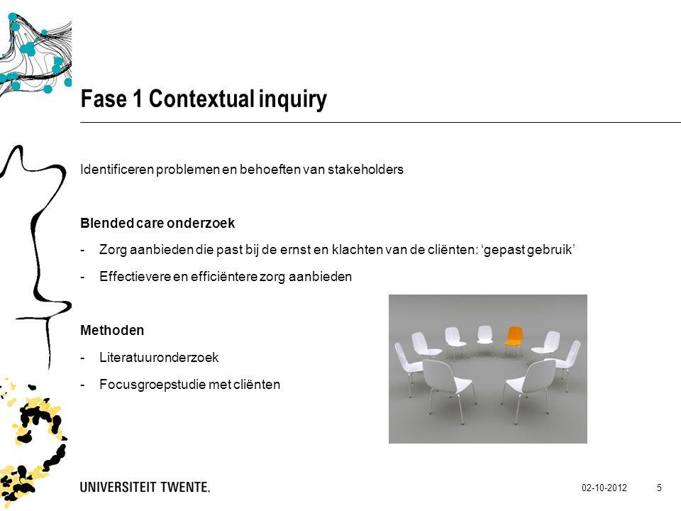 02-10-2012 5 Fase 1 Contextual inquiry Identificeren problemen en behoeften van stakeholders Blended care onderzoek -Zorg aanbieden die past bij de er